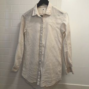 Uniqlo button down linen shirt size xs
